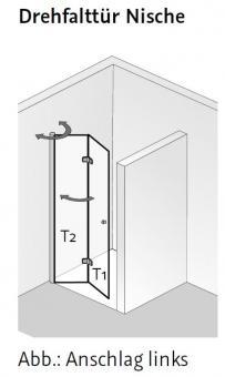 hsk duschkabine exklusiv drehfaltt r nische fliesen online kaufen. Black Bedroom Furniture Sets. Home Design Ideas